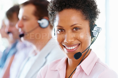 Buy stock photo Female customer service representative smiling in office
