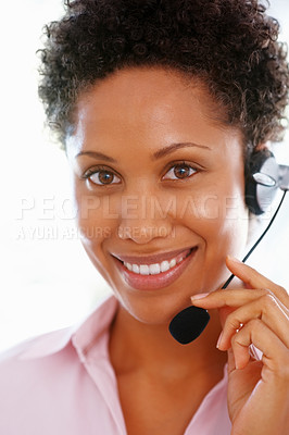Buy stock photo Beautiful African American business woman with headset and smiling