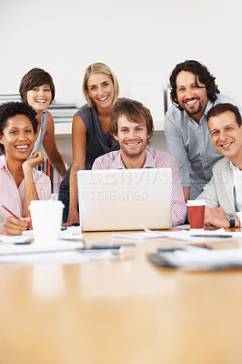 Buy stock photo Team of business people smiling at the office