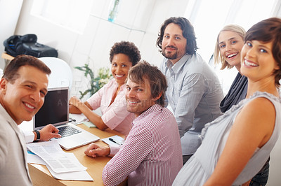 Buy stock photo Team of successful professionals smiling in office