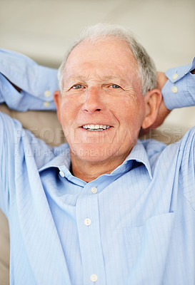 Buy stock photo Portrait of a thoughtful senior man with with his hands behind his head