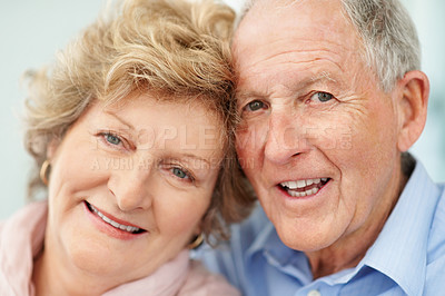 Buy stock photo Closeup portrait of a senior couple smiling happily