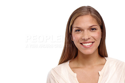 Buy stock photo Cropped studio portrait of a beautiful young woman standing against a white background