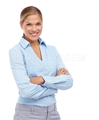Buy stock photo Young blonde woman smiling at the camera with her arms folded - copyspace