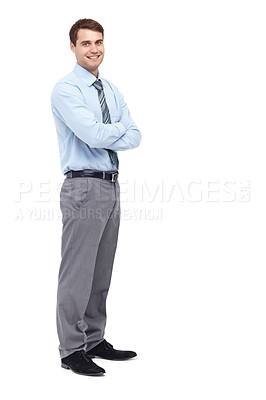 Buy stock photo Happy young businessman standing with his arms folded - portrait