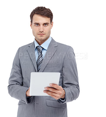 Buy stock photo Handsome young man holding a document - isolated