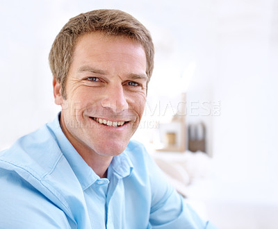 Buy stock photo Closeup portrait of a smiling man with copyspace