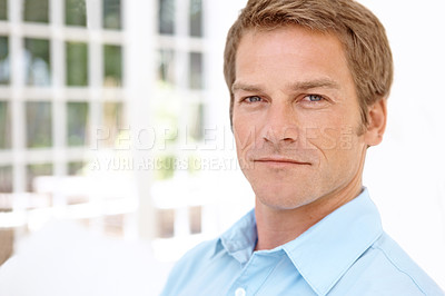 Buy stock photo Portrait of a confident man looking at the camera with copy space