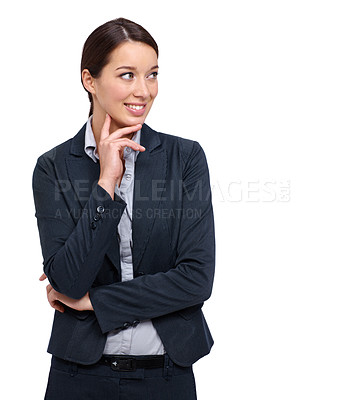 Buy stock photo Attractive young businesswoman thinking against a white background
