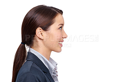 Buy stock photo Profile of an smiling businesswoman against a white background