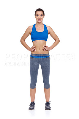 Buy stock photo A fit young woman with her hands on her hips while isolated on a white background