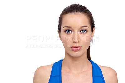 Buy stock photo Head and shoulders portrait of a pretty young woman in sportswear alongside copyspace - Isolated