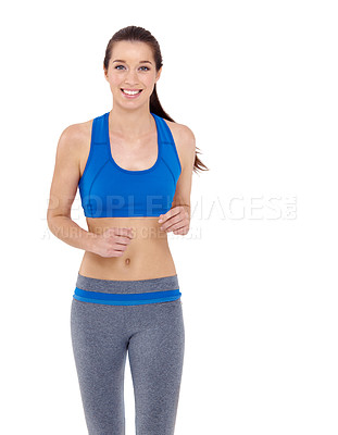 Buy stock photo Portrait of a pretty young woman jogging while isolated on a white background