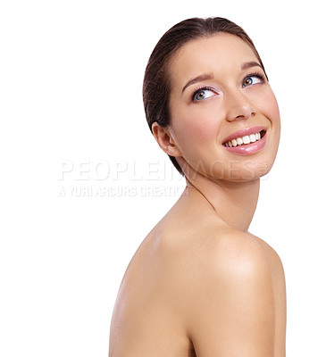 Buy stock photo Studio shot of a young woman with beautiful skin isolated on white