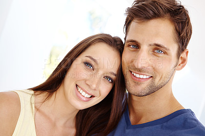 Buy stock photo Portrait of a smiling happy couple