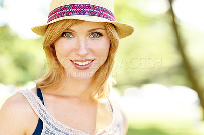 Buy stock photo Portrait of a beautiful young woman wearing a hat