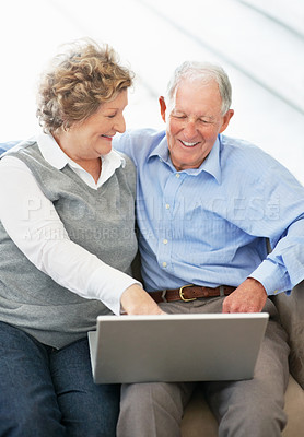 Buy stock photo A senior woman pointing out something on the laptop to her husband