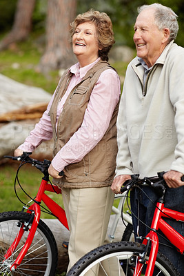 Buy stock photo Portrait of a sporty mature couple walking with bicycle in countryside