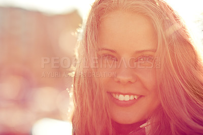 Buy stock photo Portrait of a beautiful woman standing outside