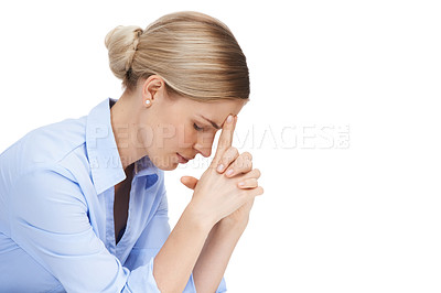 Buy stock photo Studio shot of a beautiful young businesswoman experiencing a stressful moment against a white background