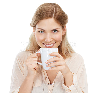 Buy stock photo Studio shot of a beautiful young woman enjoying a beverage against a white background