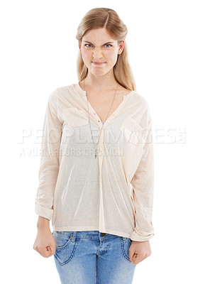 Buy stock photo Studio shot of a beautiful young woman making a face against a white background