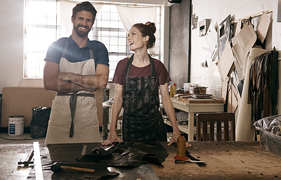 Buy stock photo Portrait of two leather workers in their shop