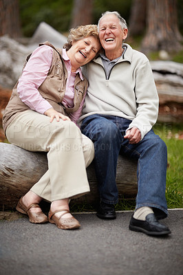 Buy stock photo Full length of a loving mature couple enjoying in park at countryside