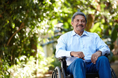 Buy stock photo Cropped portrait of a senior man sitting in a wheelchair outside