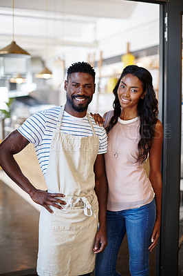 Buy stock photo Portrait of two coffee shop owners