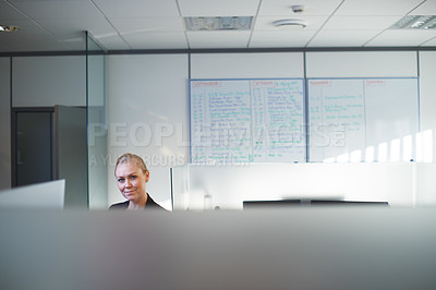 Buy stock photo Portrait of an attractive young woman standing in her office cubicle