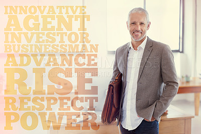 Buy stock photo Portrait of a casually-dressed mature businessman standing in an office