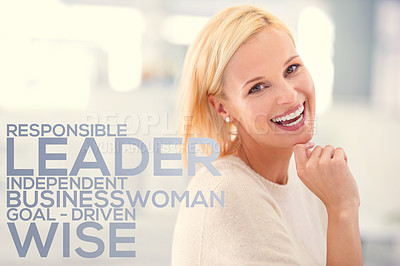 Buy stock photo Cropped portrait of a laughing young businesswoman in an office setting