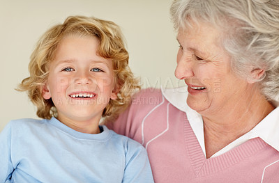Buy stock photo Closeup portrait of a happy child with his grandmother