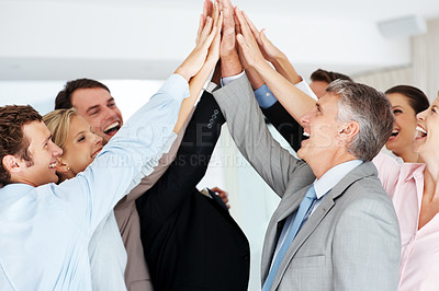 Buy stock photo Portrait of group of business people celebrating success with high five
