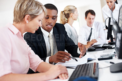 Buy stock photo Successful group of business people working together in an office