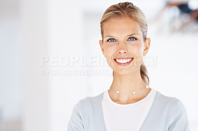 Buy stock photo Portrait of a beautiful young business woman smiling - Copyspace