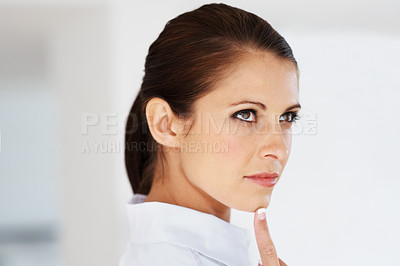 Buy stock photo Portrait of a thoughtful young business woman looking away - Copyspace