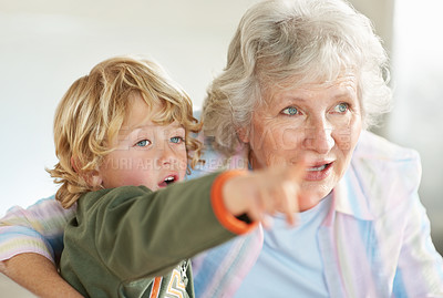 Buy stock photo A little boy pointing out something interesting to his grandmother