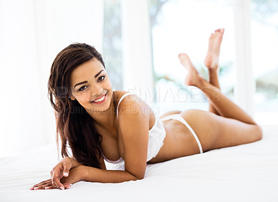 Buy stock photo Portrait of a sexy young woman posing indoors
