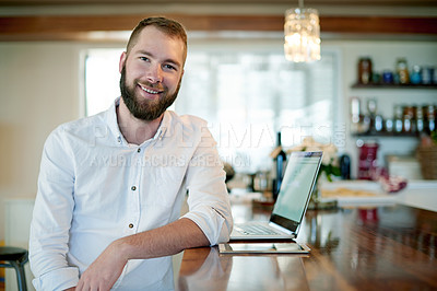 Buy stock photo Portrait of a young man working at home