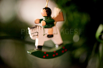 Buy stock photo Closeup shot of a figurine hanging from a Christmas tree
