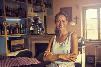 Buy stock photo Shot of a woman in a restaurant