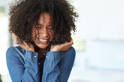 Buy stock photo Cropped shot of a happy young woman at home