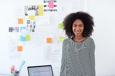 Buy stock photo Portrait of a successful young designer in her office