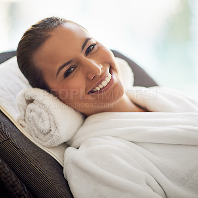 Buy stock photo Shot of a young woman at the day spa