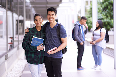 Buy stock photo Portrait of two smiling university students on campus