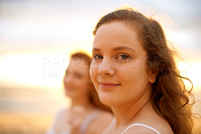 Buy stock photo Portrait of girlfriends spending time together outdoors
