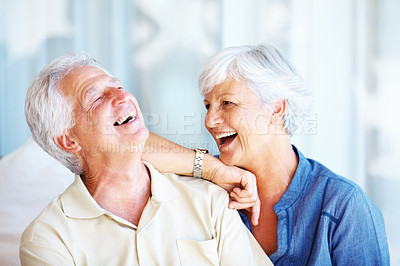 Buy stock photo Closeup of senior couple enjoying the moment