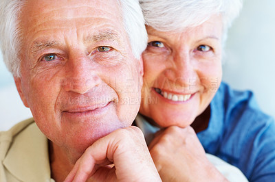Buy stock photo Closeup portrait of senior couple giving you a warm smile